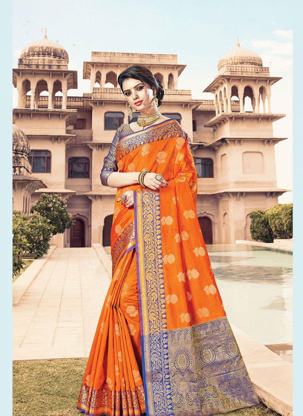 Handloom Cotton Orange Designer Traditional Saree