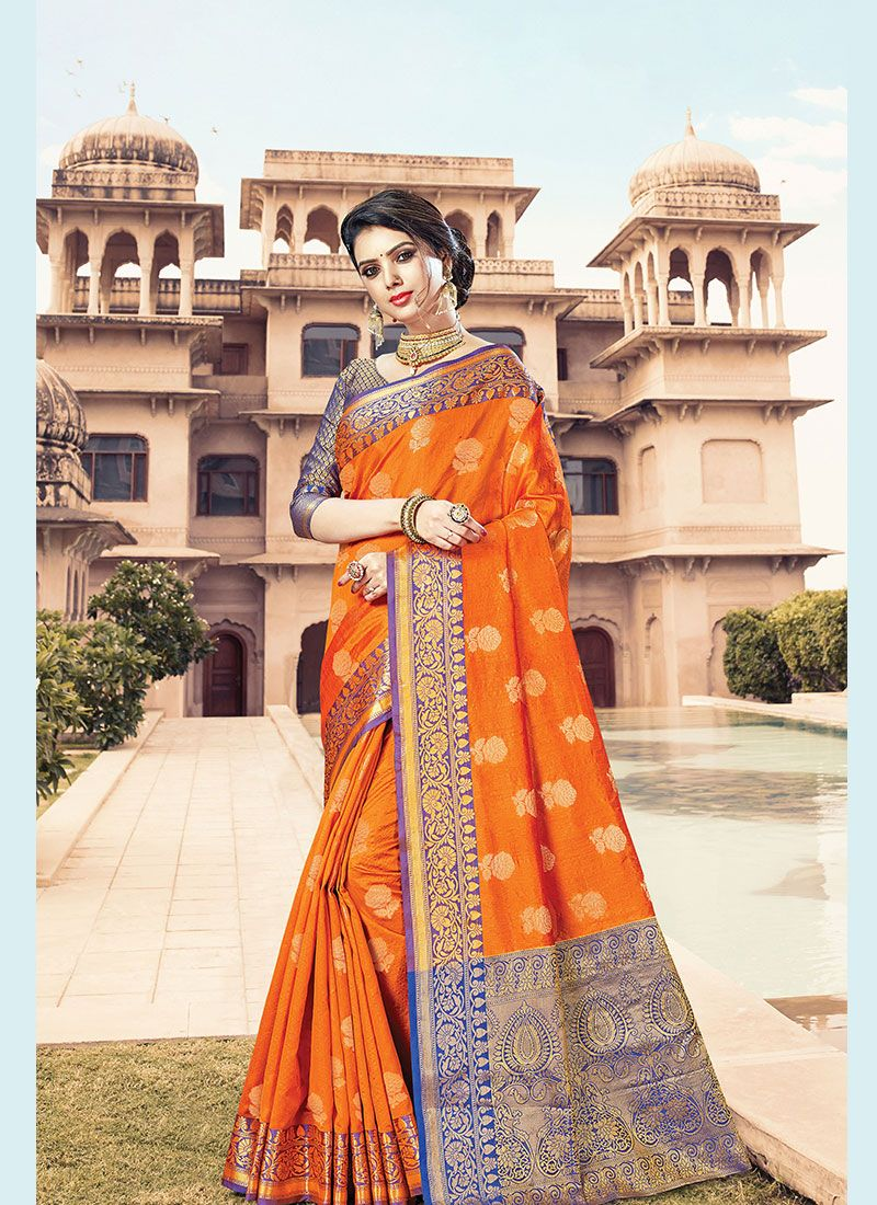 Handloom Cotton Orange Designer Traditional Saree