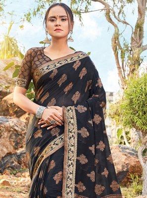 Handloom Cotton Printed Black Classic Saree