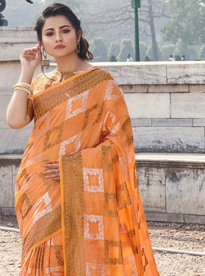Handloom Cotton Printed Casual Saree in Orange