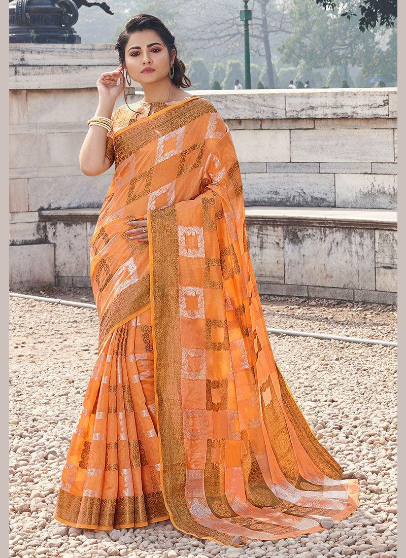 Handloom Cotton Printed Casual Saree in Orange