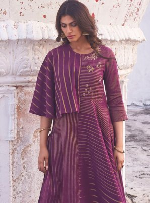 Handloom Cotton Violet Embroidered Party Wear Kurti