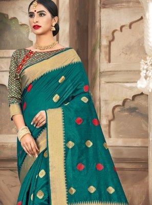 Handloom Cotton Weaving Classic Saree in Green