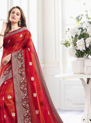Handloom Cotton Zari Red Contemporary Saree