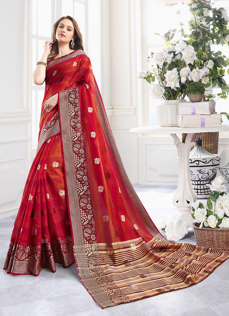 Handloom Cotton Zari Red Contemporary Saree