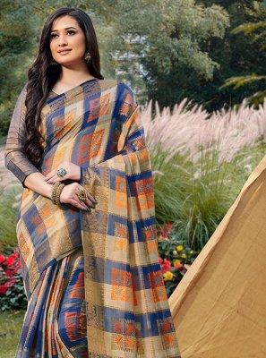 Handloom silk Blue Traditional Saree