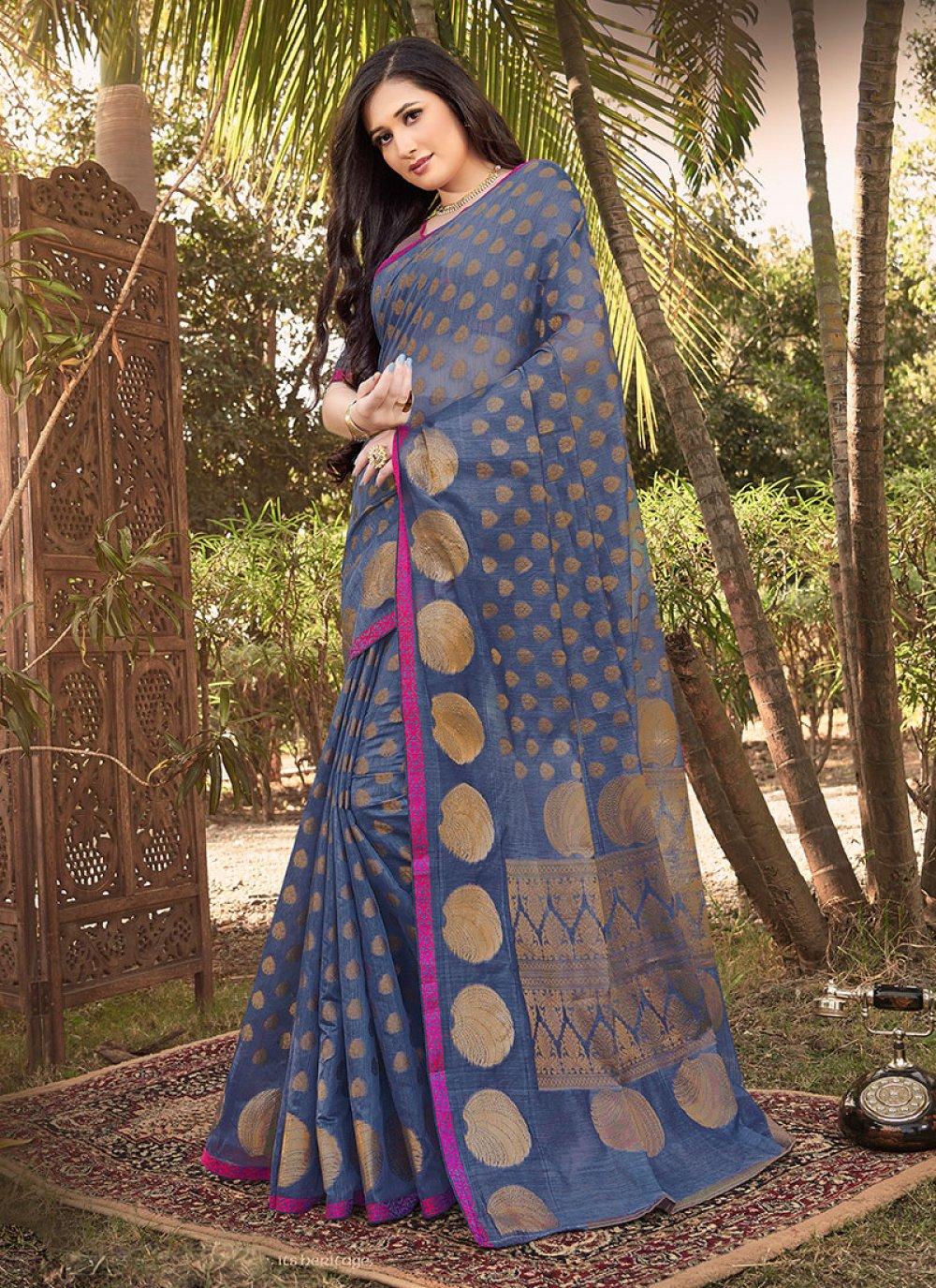 Handloom silk Blue Weaving Classic Designer Saree