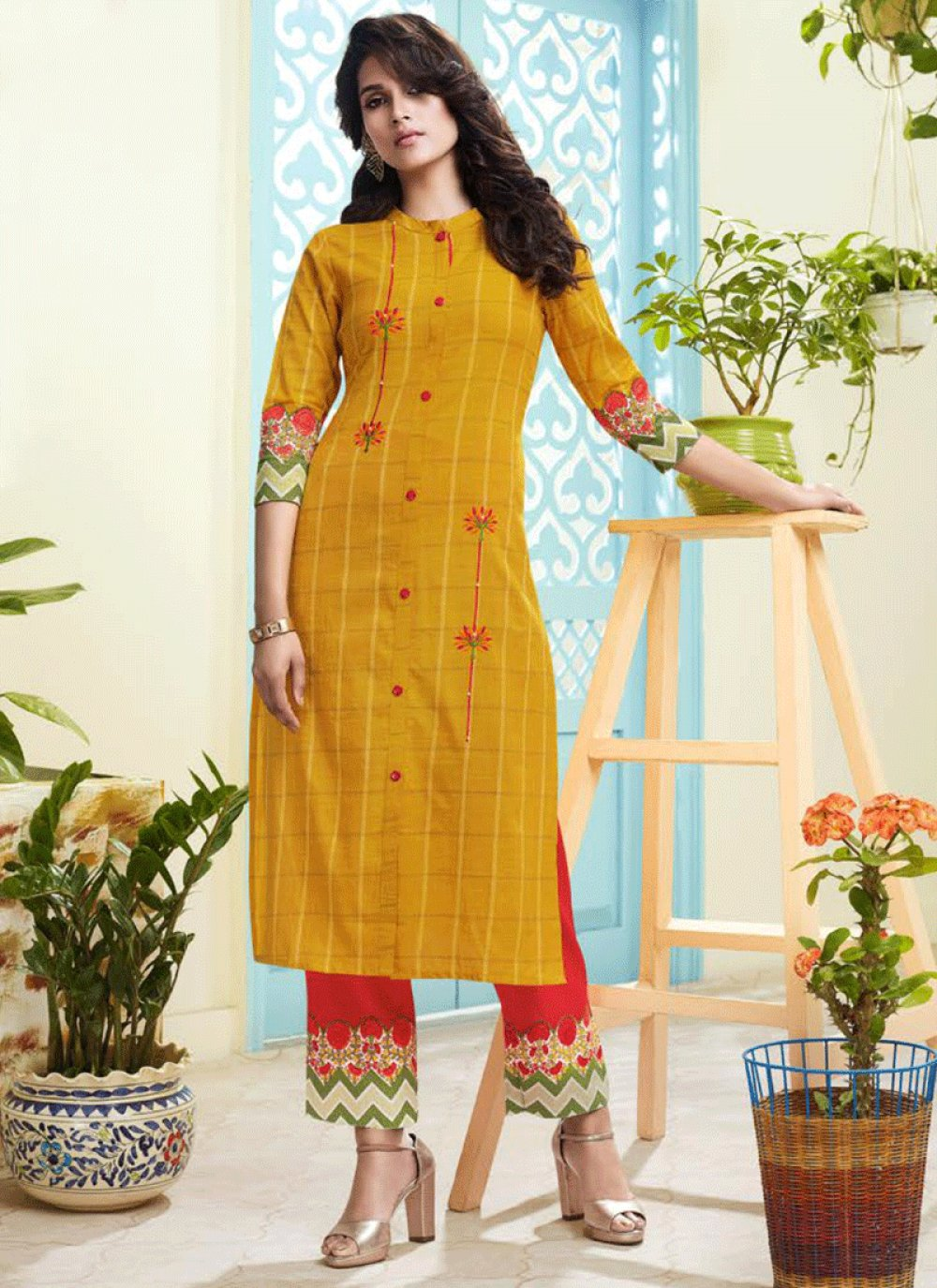 Handloom silk Embroidered Salwar Suit in Yellow