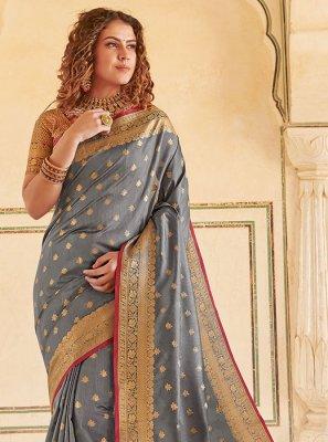 Handloom silk Grey Classic Saree
