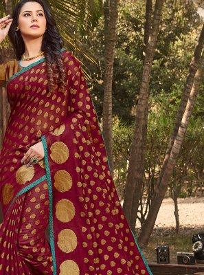 Handloom silk Maroon Weaving Casual Saree