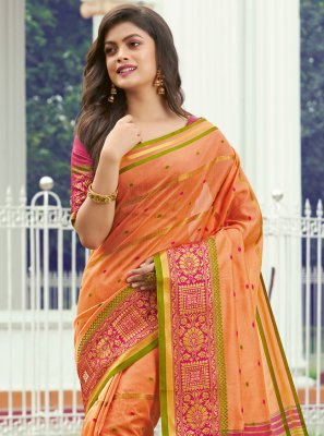 Handloom silk Peach Contemporary Saree