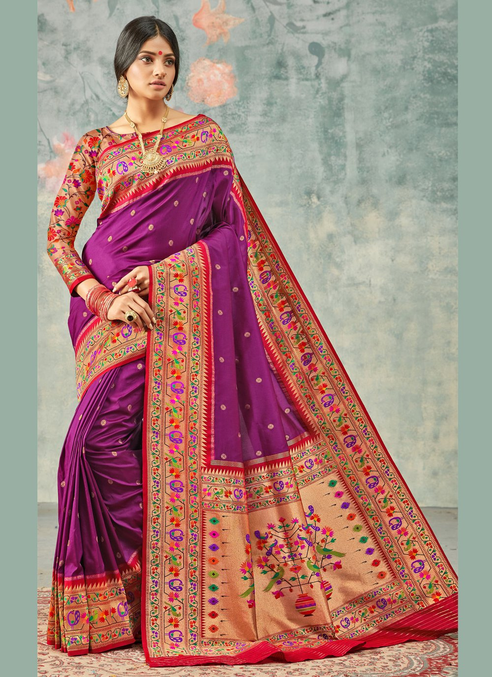 Handloom silk Purple Weaving Trendy Saree