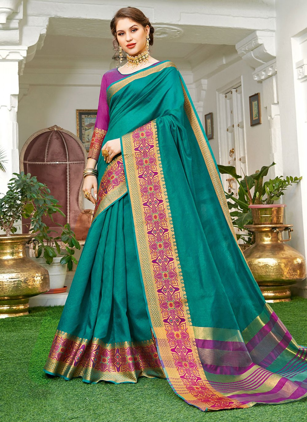 Handloom silk Teal Weaving Designer Saree