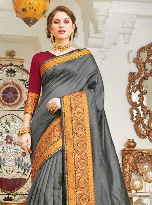 Handloom silk Weaving Grey Designer Saree