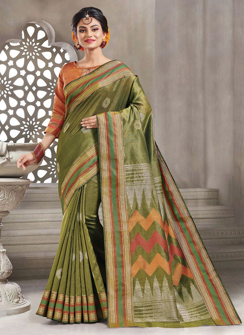 Handloom silk Woven Sea Green Trendy Saree
