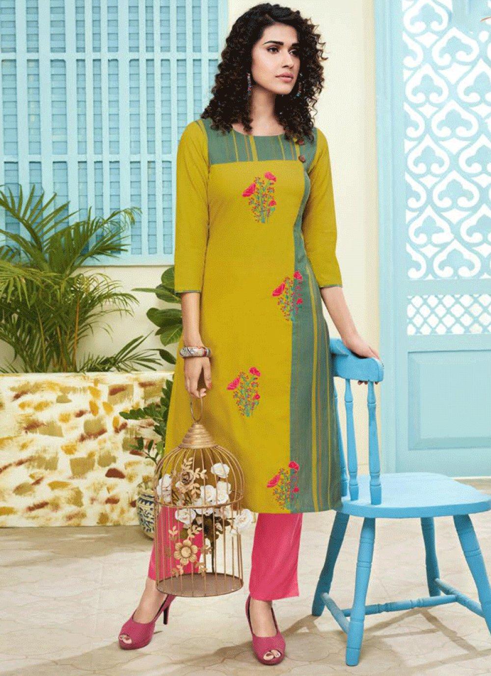 Handloom silk Yellow Salwar Suit