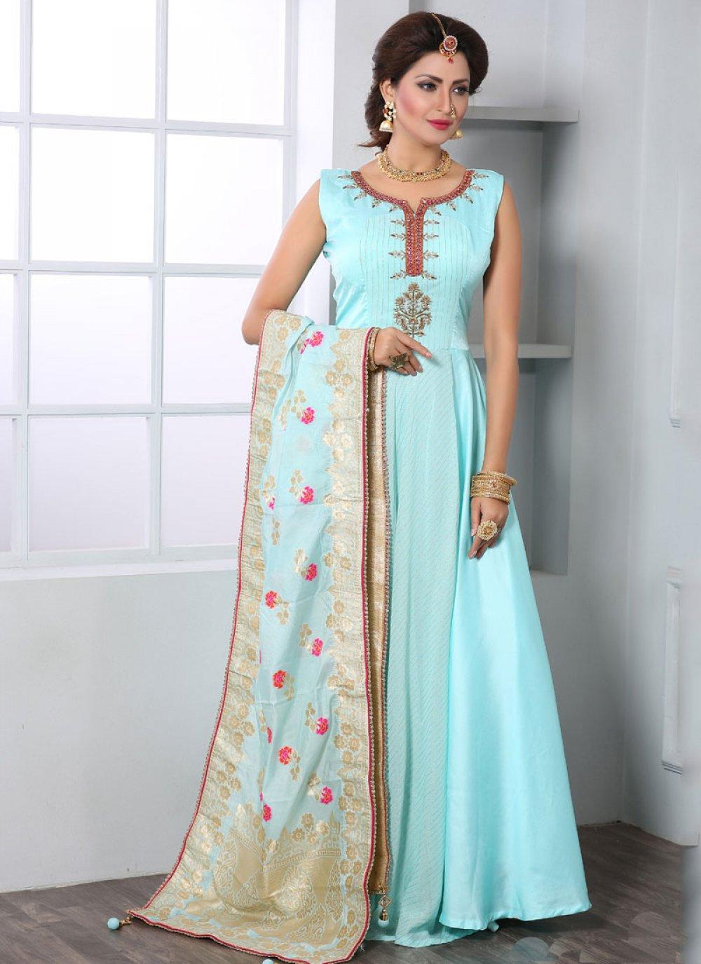 Handwork Art Silk Floor Length Trendy Gown