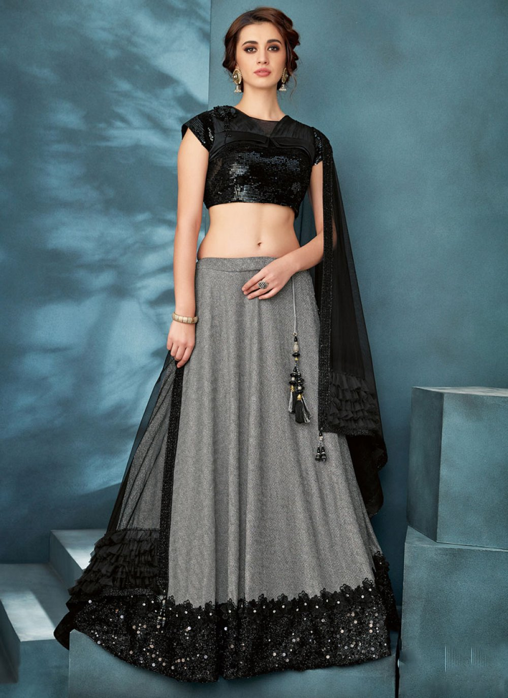 Handwork Black Fancy Fabric Trendy Lehenga Choli