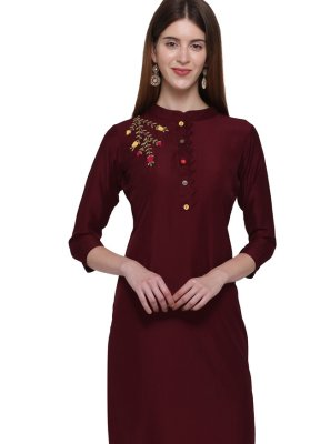 Handwork Cotton Casual Kurti in Maroon