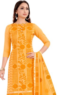 Handwork Cotton Churidar Designer Suit in Yellow