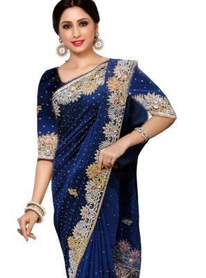 Handwork Faux Georgette Traditional Saree in Navy Blue