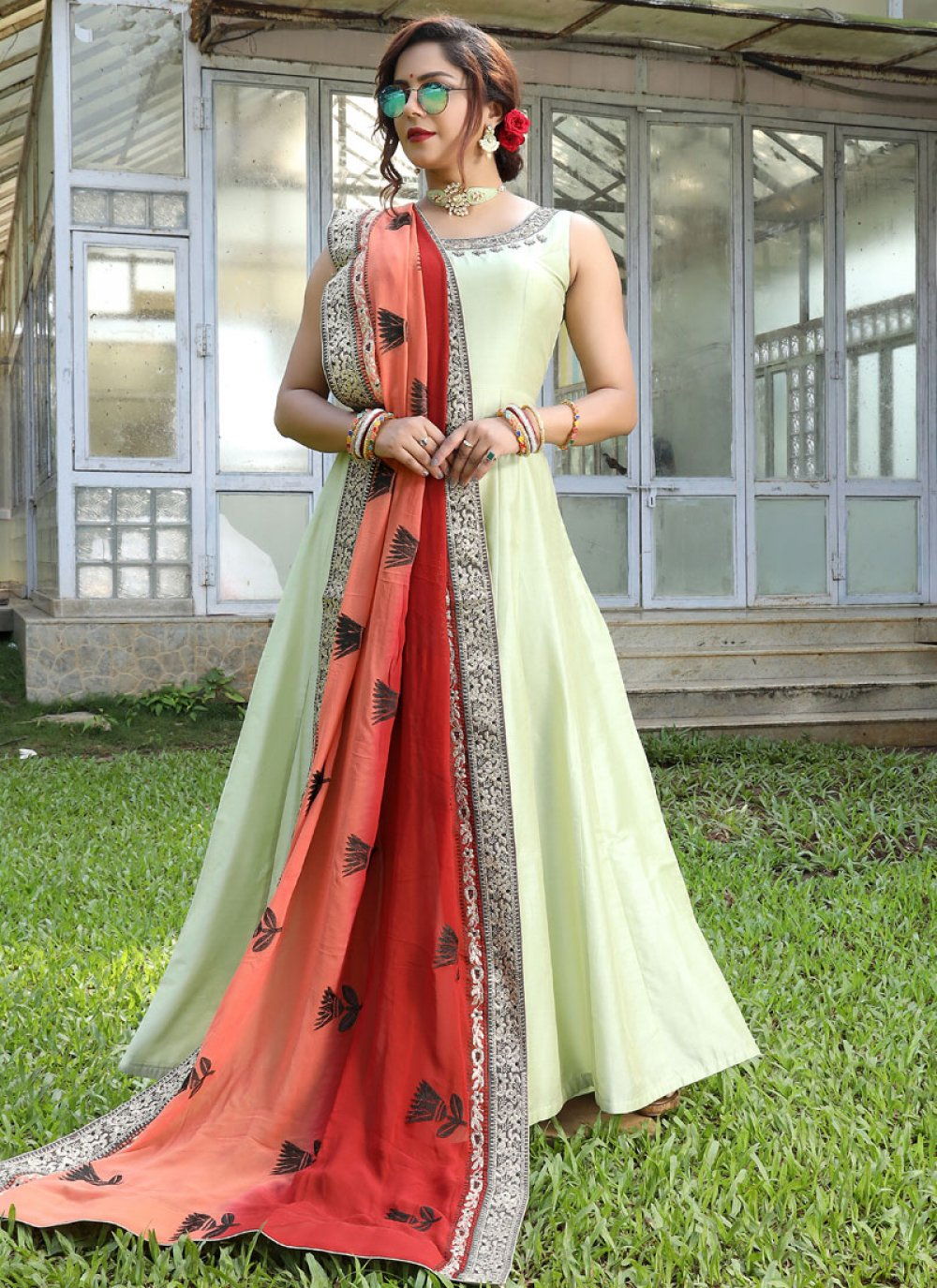 Handwork Floor Length Gown