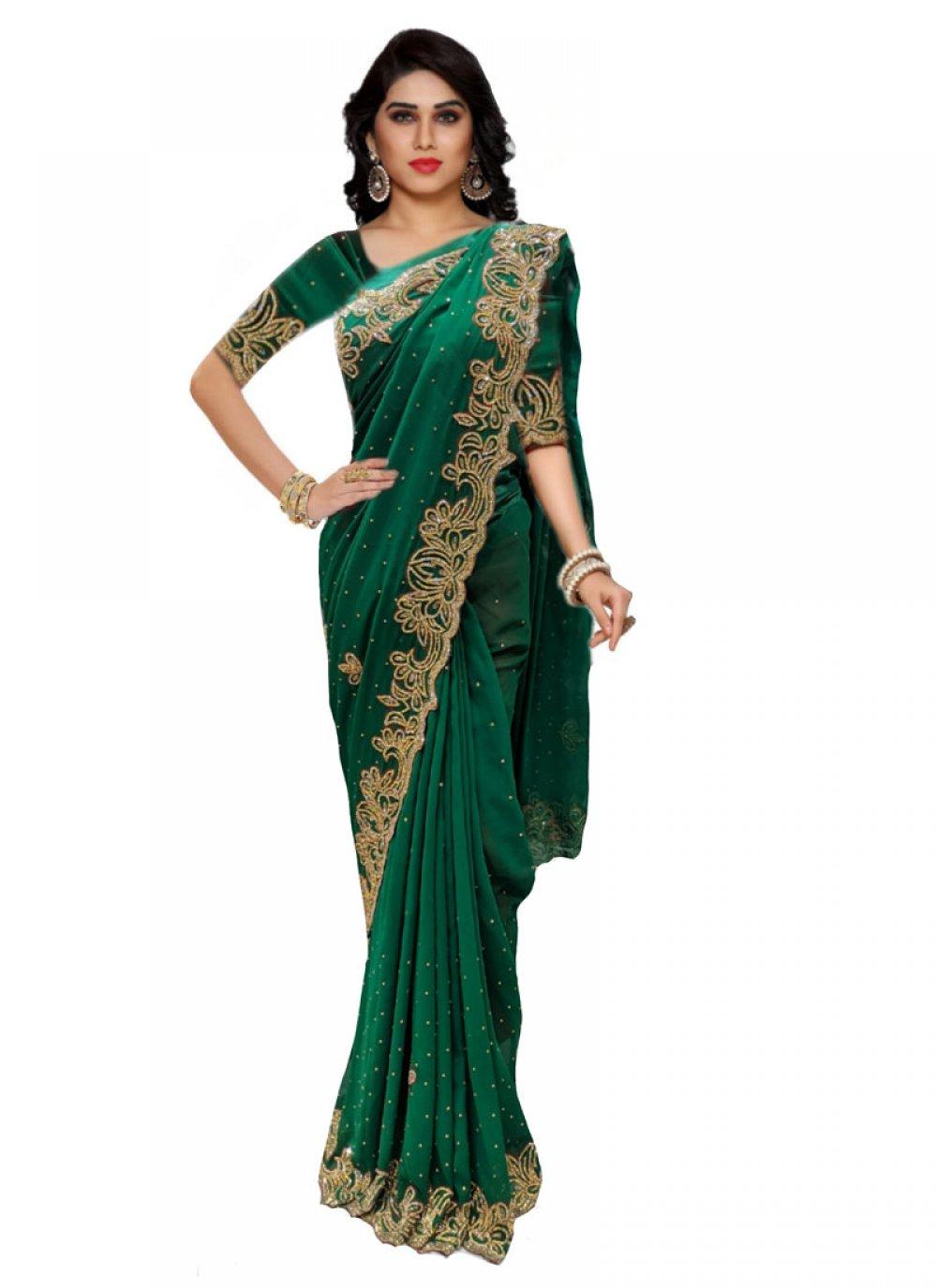 Handwork Green Classic Saree