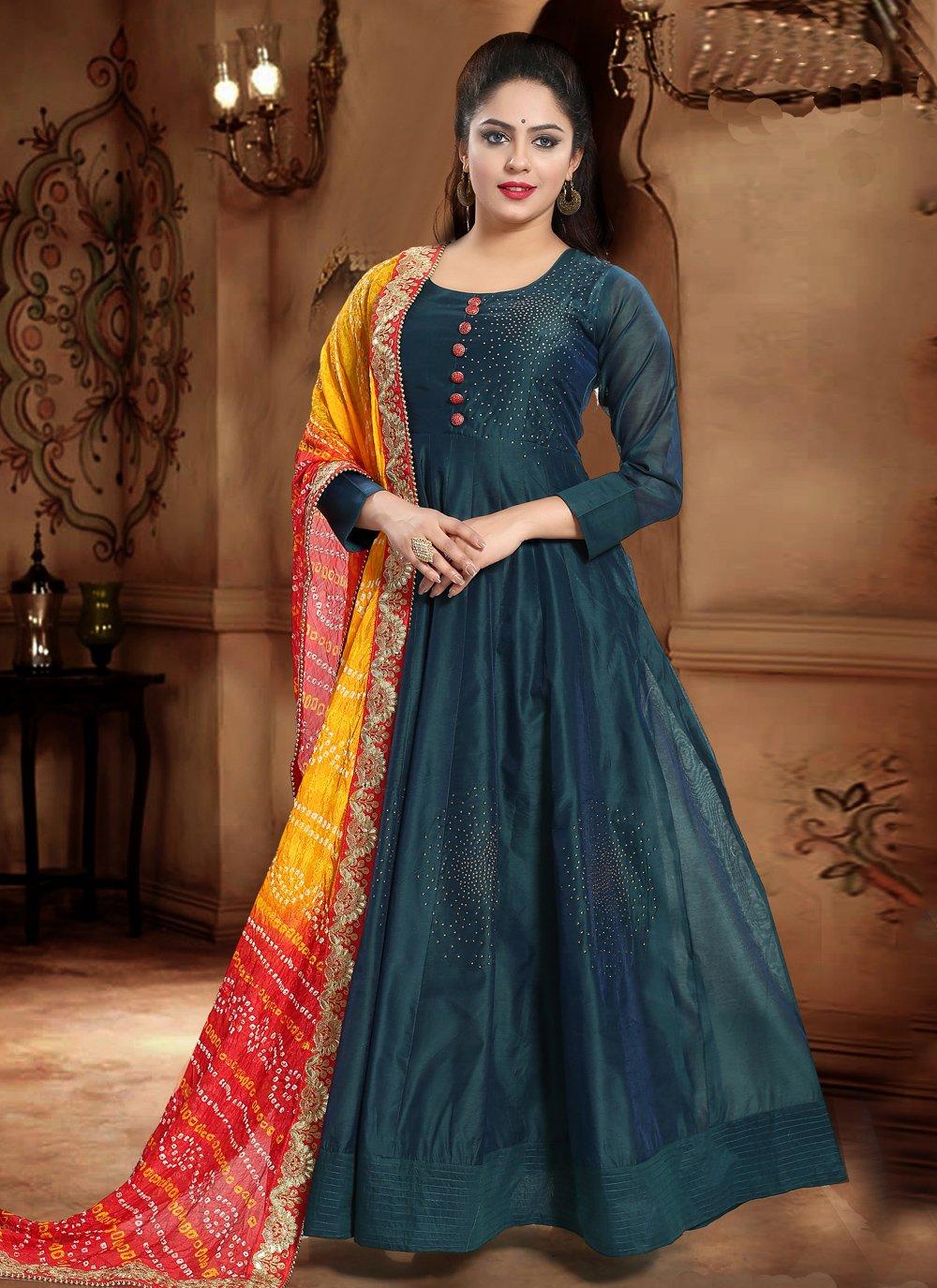Handwork Green Designer Gown