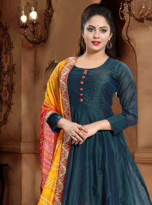 Handwork Green Designer Gown
