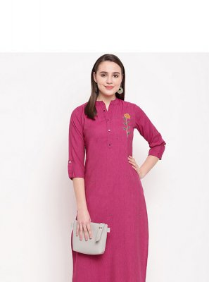 Handwork Rayon Party Wear Kurti in Pink