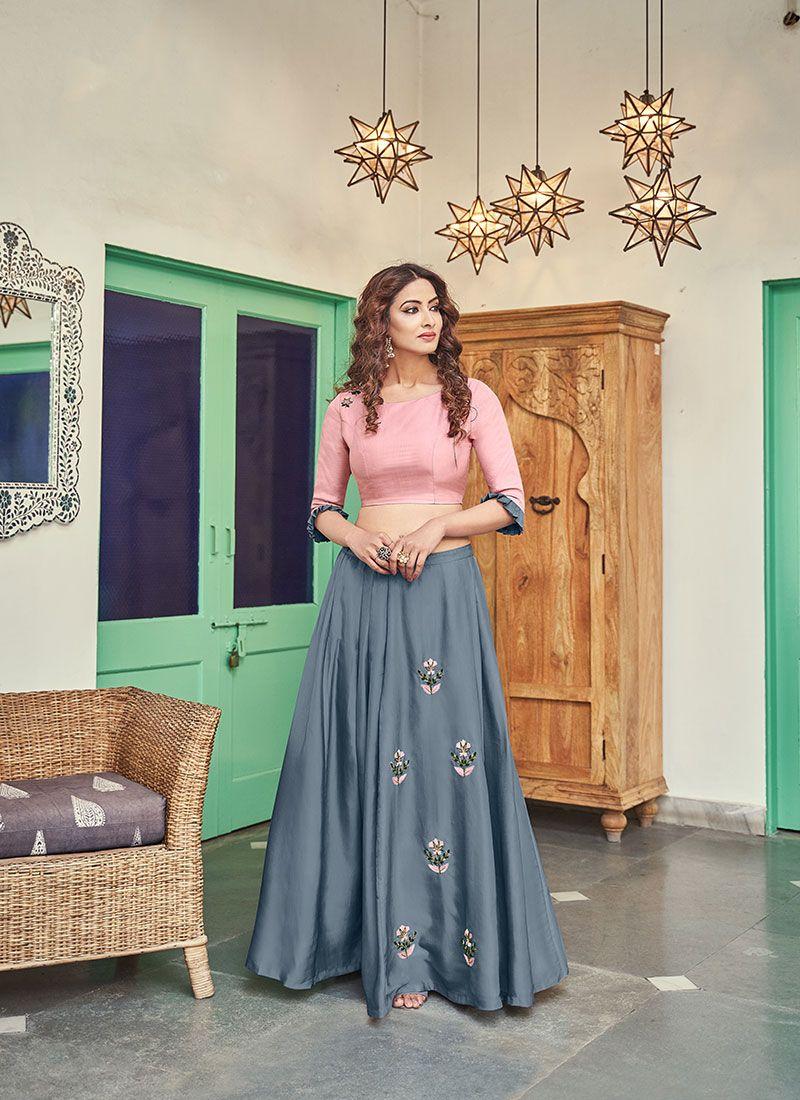Handwork Satin Pink Designer Lehenga Choli