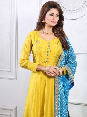 Handwork Silk Readymade Gown in Yellow
