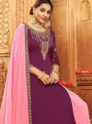 Handwork Violet Salwar Suit