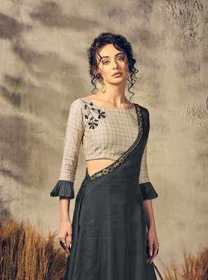 Handwork Viscose Party Wear Kurti in Beige