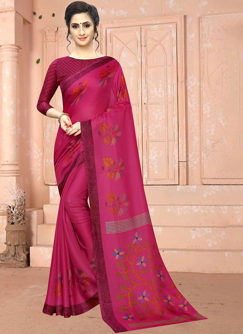 Hot Pink Abstract Print Printed Saree