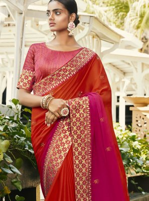 Hot Pink and Orange Reception Traditional Saree