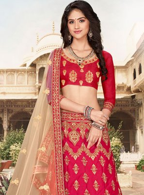 Hot Pink Art Silk Lehenga Choli