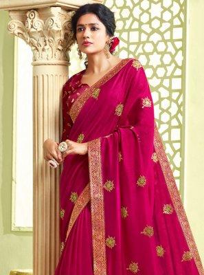 Hot Pink Art Silk Resham Traditional Saree