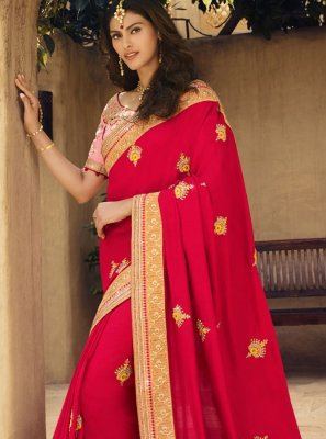 Hot Pink Art Silk Traditional Designer Saree