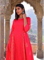 Hot Pink Block Print Designer Gown