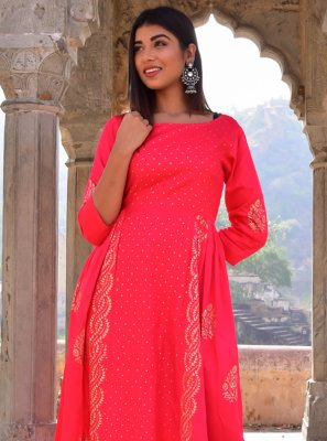 Hot Pink Block Print Designer Gown