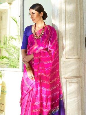 Hot Pink Color Contemporary Saree