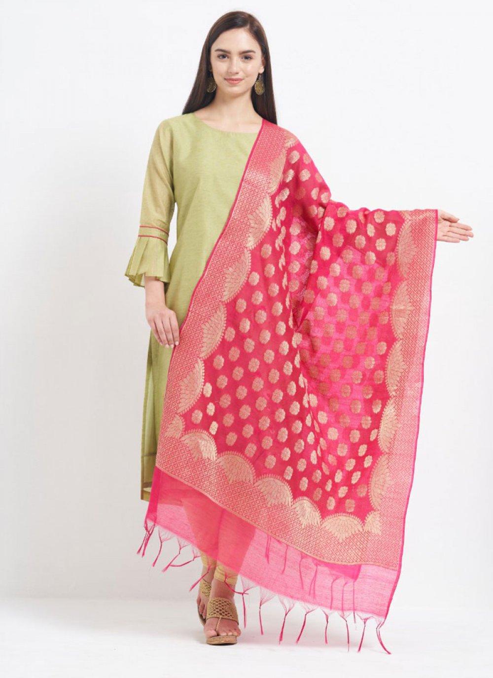 Hot Pink Color Designer Dupatta