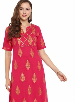 Hot Pink Cotton Festival Casual Kurti