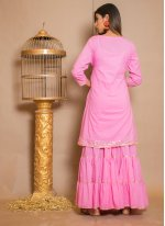 Hot Pink Cotton Reception Designer Palazzo Salwar Kameez