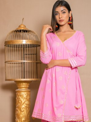 Hot Pink Cotton Reception Designer Palazzo Salwar Kameez