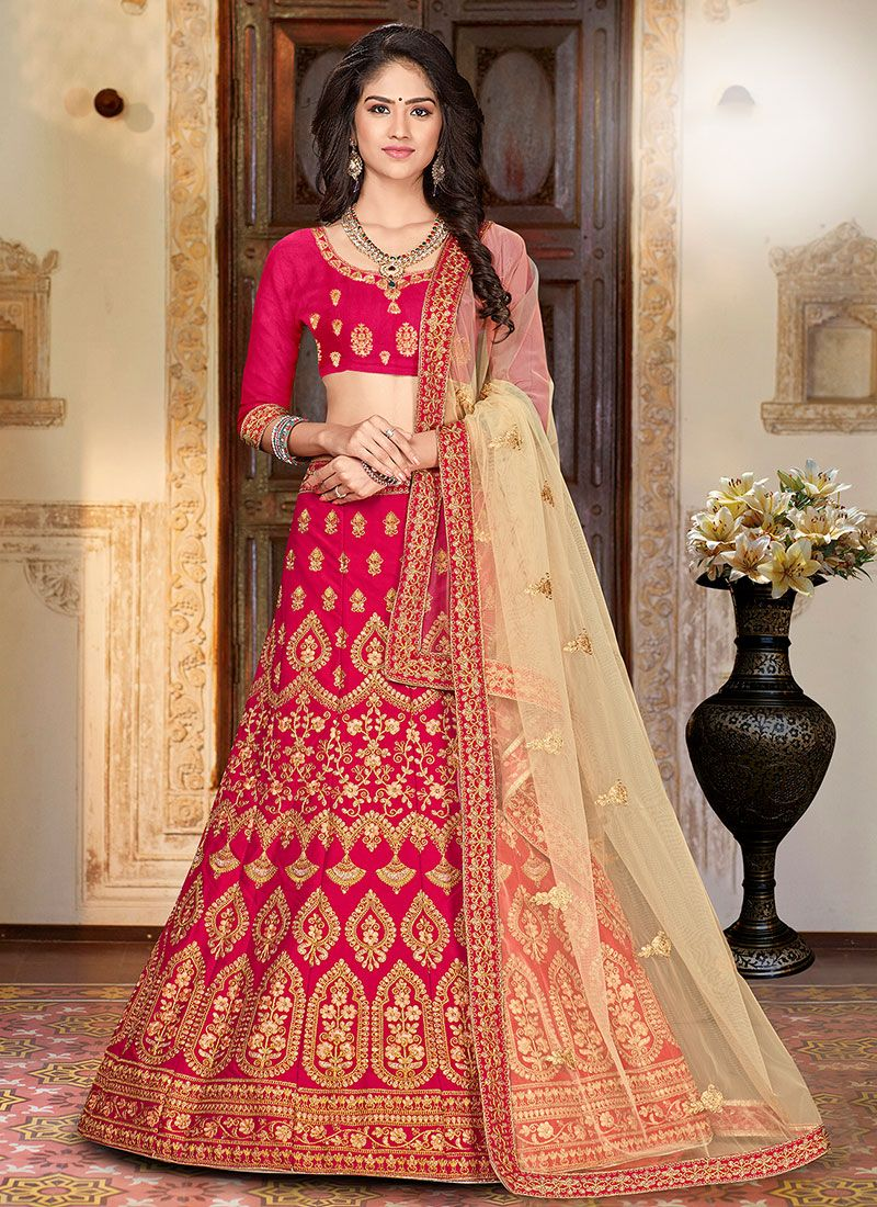 Hot Pink Embroidered Art Silk Trendy Designer Lehenga Choli