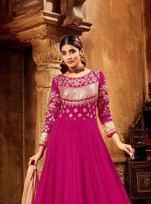 Hot Pink Embroidered Chiffon Satin Ankle Length Anarkali Suit