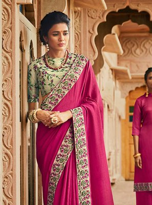 Hot Pink Embroidered Classic Designer Saree