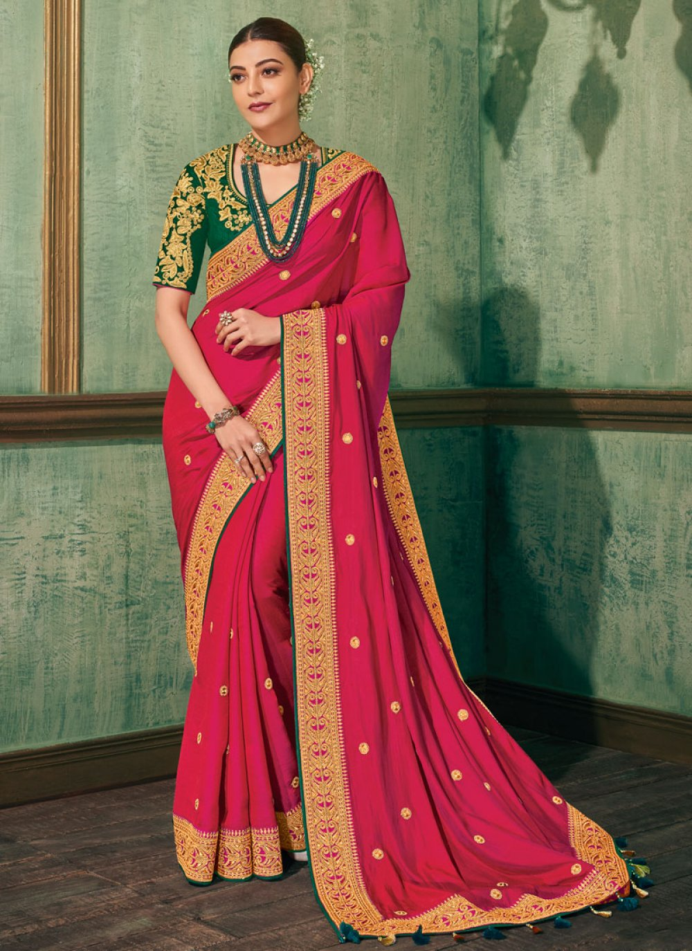 Hot Pink Embroidered Classic Saree